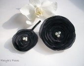 Grey Dahlia -  Satin Brooch and Bobby Pin Set with Pearls OOAK