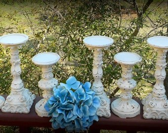 """10 Distressed """"Color of your Choice""""-Centerpiece,Barn,Chic,Shabby Rococo,Enchanted Wedding,Paris Decor,Formal Event,Vintage,Farm,Candlestick"""