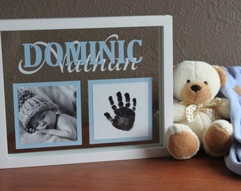 Personalized baby photo name frame - with handprint kit