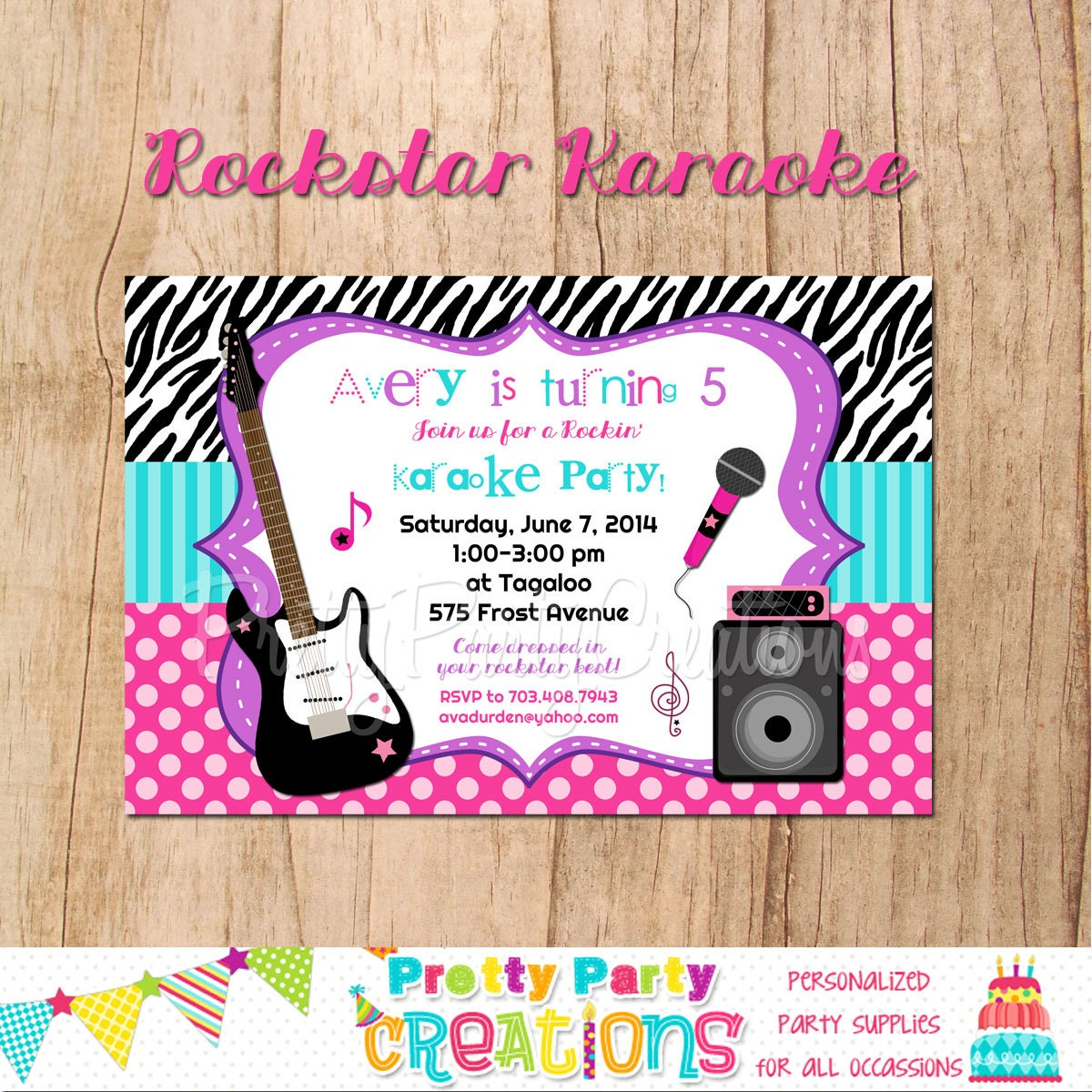 ROCK STAR KARAOKE Invitation You Print With Or Without