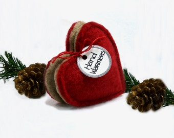 Pocket Hand Warmers RED CREAM HEARTS Felted Sweater Wool Rice Bags