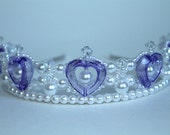 Purple Hearts Pearl and Crystal Princess Tiara, Flower Girl Tiara