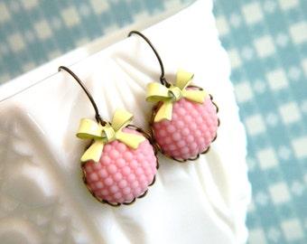Pink Earrings, Retro Bow Earrings, Retro Pink Earrings, Shabby Chic Earrings, Vintage Pink Earrings, Retro Jewelry, Yellow Pink, Spring