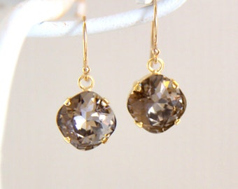 Brown Swarovski Crystal Earrings - Gift for Her - Jewelry for Her