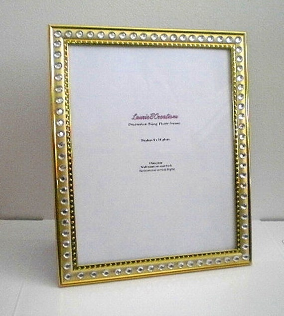 gold bling 8 x 10 picture frame gold w clear rhinestones. Black Bedroom Furniture Sets. Home Design Ideas