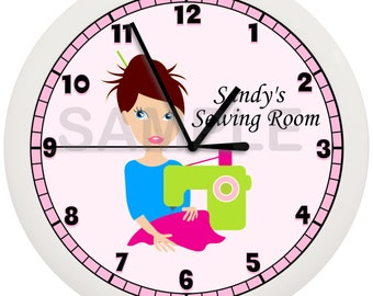 Personalized Seamstress Wall Clock Sewing Room