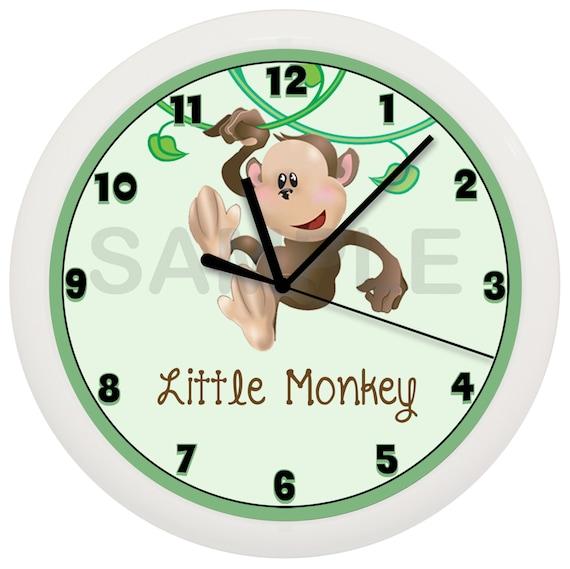 Personalized Jungle Monkey Nursery Wall Clock