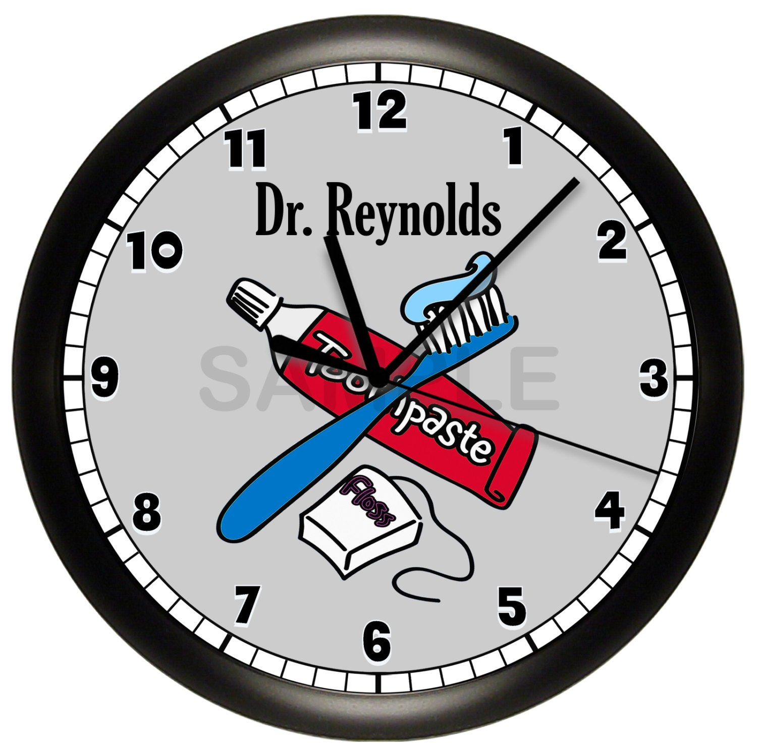 personalized dentist office wall clock. Black Bedroom Furniture Sets. Home Design Ideas