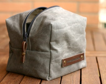 WAXED Canvas Toiletry-  toiletry bag - Fathers day - Waxed Canvas bag - DOPP kit - waxed pouch - waxed cotton dopp kit - groomsman gift