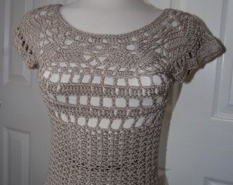 Crochet Tank Top Beige Acrylic/Bamboo Blend size X-Small/Small