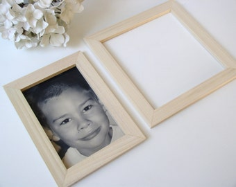 Magnetic Wood Picture Frame - YOU CHOOSE SIZE - Solid Wood Photo Frame for Refrigerator, Magnet Board or Office Filing Cabinet