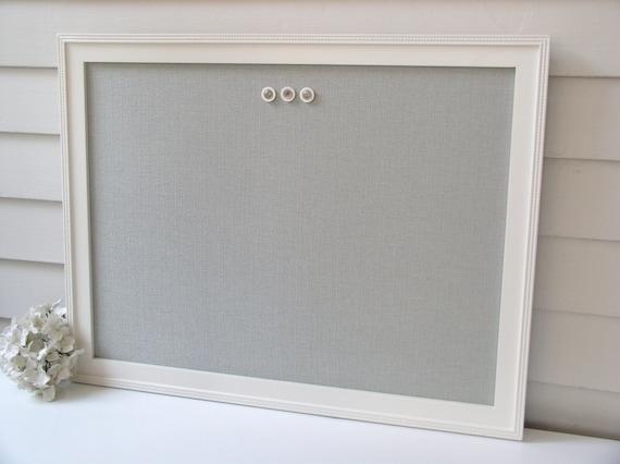 MAGNETIC BOARD Framed Bulletin Board with Silver Spa Seafoam Blue Fabric - Message Magnet Board - Handmade Wood Frame 20.5 x 26.5