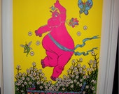 "Original ""Everybody Loves a Hippy"" Vintage Blacklight Poster"