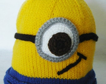 Minion Hat - hand knitHat - Childs small to medium size - Ready to Ship!!