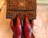 Vintage Liz Claiborne Wallet.  brown /gold Logo Wallet Leather trim. silver designer label plate.Tri fold w/ flap & coin pocket front