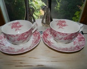 Johnson Brothers Strawberry Fair Pink(red in color) English Ironstone Teacup + Saucer c. 1959 .Shabby Chic.