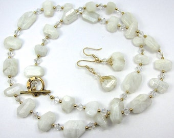 White Faceted Moonstone Necklace Earring Set With Swarovski Crystals