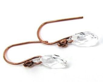 Teardrop Swarovski Crystal Copper Earrings