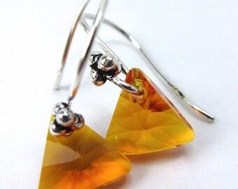Tangerine Orange Triangle Crystal Earrings, New Swarovski Color for Spring/Summer 2015