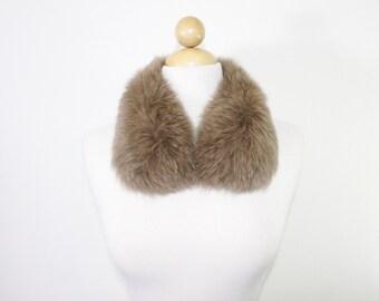 Detachable Genuine Fox Fur Collar In Walnut