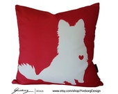 Chihuahua Pillow - Long Hair Chihuahua Pillow - Red Dog Pillow Case
