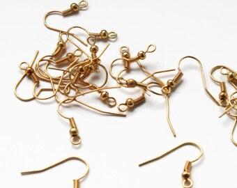 50 Gold Earring Hooks, Gold French Earring Hooks, Gold Earwires  F 20 030