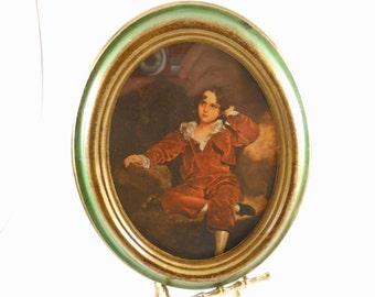 Boy Red Velvet Italian Florentine Gold Oval Frame
