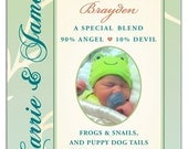 New Baby Photo Wine Label 1 Set, Front AND Back labels - 'Precious Gift', New Mother Gift
