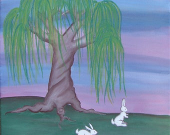 Weeping Willow and Rabbits 12x12 Original Acrylic Painting