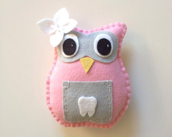Owl Tooth Fairy Pillow-pink, gray and white with flower, girl tooth fairy pillow
