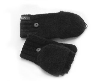 convertible mittens, felted wool mittens, size M