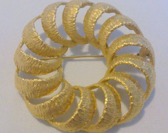 Vintage BSK Large Gold Tone Circle Brooch