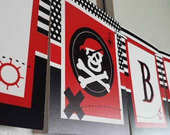 PIRATE Birthday Banner - red and black