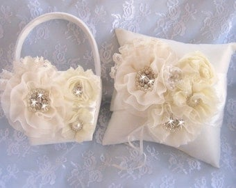 Ivory Flower Girl Basket, 3D, Ring Bearer Pillow, Flower Girl Basket Set Wedding Pillow Elegant and Classic