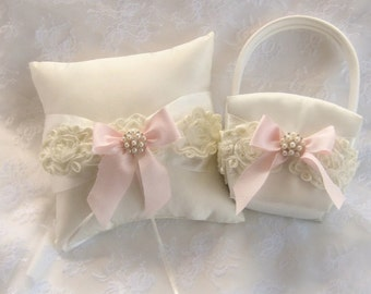 Flower Girl Basket and Pillow  ..  Wedding Ring Pillow .. included  Pink Shabby Chic Vintage Ivory and Cream Custom Colors too