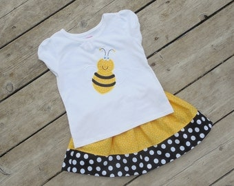 Girl's Toddlers Skirt and Shirt Outfit -Yellow and Black Skirt with Bee Applique Shirt