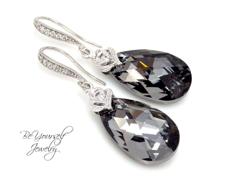 Dark Grey Bridal Earrings Charcoal Teardrop Bride Earrings Wedding Jewelry Swarovski Crystal Silver Night Earring Gray Black Bridesmaid Gift