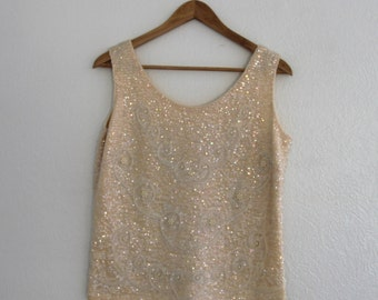 1950s Cream Sequin Shirt Shell Sleeveless Cocktail Sweater Holiday Prom Glam Womens Vintage Large