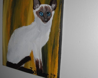 Siamese Cat acrylic painting - 8x10 stretched canvas / Siamese Cat Painting / Siamese Cat / Cat