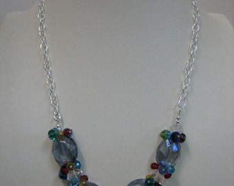 Smokey Blue Crystal Necklace