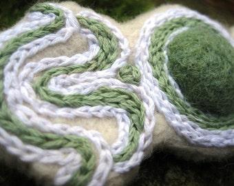 Needle FELTED BARETTE Hair Slide White Green Wearable Art Eco