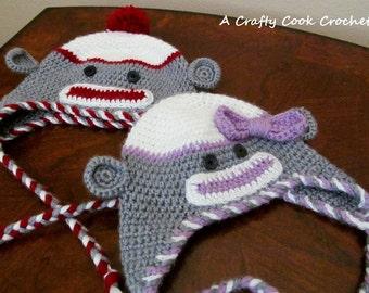 Crochet Sock Monkey Hat - Newborn to Adult