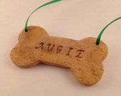 Dog Bone Personalized Polymer Clay Pet Ornament - Christmas - Art by Sarah Price