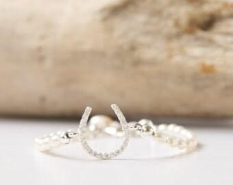 Dainty Pearl Horseshoe Bracelet, Horseshoe Bridal Jewelry, Horseshoe Pearl Bracelet, Dainty Bridal Horseshoe Bracelet by BareandMe on Etsy