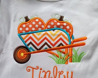 Wheelbarrow full of Pumpkins Custom boutique appliqued monogrammed personalized, boys, girls, t shirt, one piece w/snaps, thanksgiving, fall