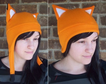 Orange or Red Fox Fleece Hat - Short or Long Ear Flap (laplander) - Fleece Hat Adult, Teen, Kid - A winter, nerdy, geekery gift!