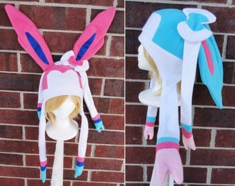 Sylveon and Shiny Sylveon Pokemon Hat - Fleece Hat Adult, Teen, Kid - A winter, nerdy, geekery gift!