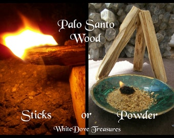 "PALO SANTO WOOD Sticks 4"" ~ 1 or Bulk Amount ~ 1oz Powder ~ Charcoal Discs"