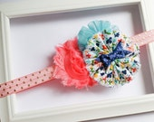 Pink, navy, aqua, floral shabby headband -- gold foil, fabric flower, shabby flower boutique headband