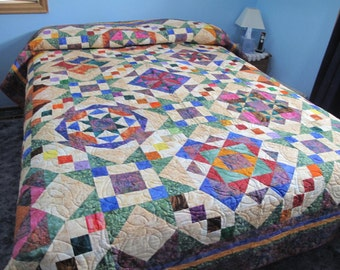 Queen Size Patchwork Quilt in a Variety of Colors